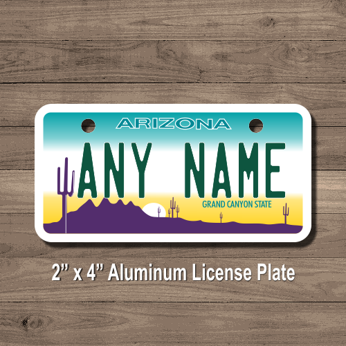 arizona replica state license plate for bikes, bicycles, atvs, cart