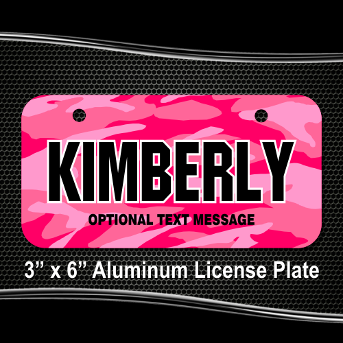Pink Camo License Plate for Bikes, Bicycles, ATVs, Cart, Walkers ...