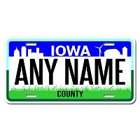 Iowa License Plate for Bikes, Bicycles, ATVs, Cart, Walkers, Motorcycles, Wagons and Vehicles  Version 2