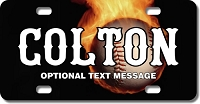 Flaming Baseball Background Plate for Bikes, Bicycles, ATVs, Cart, Walkers, Motorcycles, Wagons and Vehicles