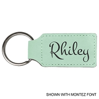 Personalized Teal Leatherette Laser Engraved Rectangle Key Ring