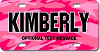 Pink Camo License Plate for Bikes, Bicycles, ATVs, Cart, Walkers, Motorcycles, Wagons and Vehicles