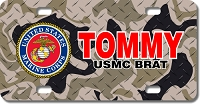 Marines Seal / Camo Background License Plate for Bikes, Bicycles, ATVs, Cart, Walkers, Motorcycles, Wagons and Vehicles