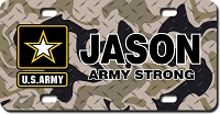 US Army Star Emblem / Brown Camo Background License Plate for Bikes, Bicycles, ATVs, Cart, Walkers, Motorcycles, Wagons and Vehicles