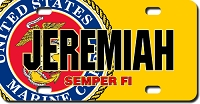 U.S. Marines Seal / Yellow Background License Plate for Bikes, Bicycles, ATVs, Cart, Walkers, Motorcycles, Wagons and Vehicle