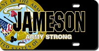 US Army Seal / Black Background License Plate for Bikes, Bicycles, ATVs, Cart, Walkers, Motorcycles, Wagons and Vehicles