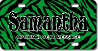 Green Zebra Background Plate for Bikes, Bicycles, ATVs, Cart, Walkers, Motorcycles, Wagons and Vehicles
