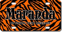 Orange Zebra Background Plate for Bikes, Bicycles, ATVs, Cart, Walkers, Motorcycles, Wagons and Vehicles