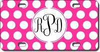 Polka Dot Monogram License Plate for Bikes, Bicycles, ATVs, Cart, Walkers, Motorcycles, Wagons and Vehicles