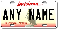 Louisiana License Plate for Bikes, Bicycles, ATVs, Cart, Walkers, Motorcycles, Wagons and Vehicles Version