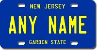 New Jersey License Plate for Bikes, Bicycles, ATVs, Cart, Walkers, Motorcycles, Wagons and Vehicles Version 3