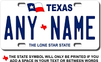 Texas License Plate for Bikes, Bicycles, ATVs, Cart, Walkers, Motorcycles, Wagons and Vehicles