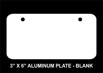 "Blank 3"" x 6"" Aluminum License Plate"