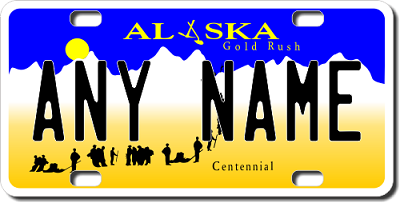 Alaska License Plate for Bikes, Bicycles, ATVs, Cart, Walkers, Motorcycles, Wagons and Vehicles