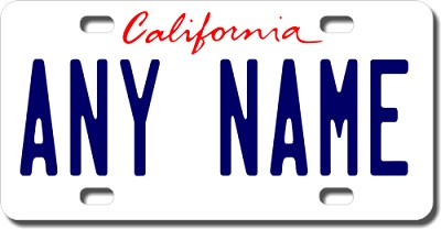 California License Plate for Bikes, Bicycles, ATVs, Cart, Walkers, Motorcycles, Wagons and Vehicles