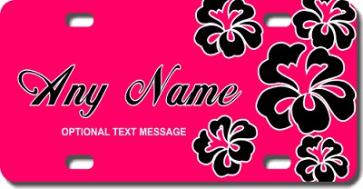 Pink Background Black Hawaiian Flowers License Plate For Bikes Bicycles ATVs Cart Walkers Motorcycles Wagons And Vehicles