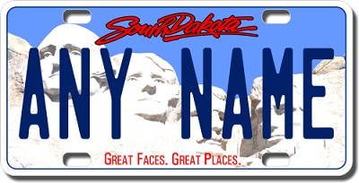 South Dakota License Plate for Bikes, Bicycles, ATVs, Cart, Walkers, Motorcycles, Wagons and Vehicles