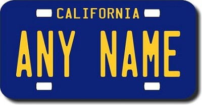 California License Plate for Bikes, Bicycles, ATVs, Cart, Walkers, Motorcycles, Wagons and Vehicles Version 3