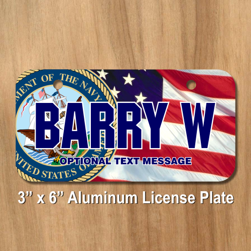 02033daaa580 US Navy Seal w  American Flag Background License Plate for Bikes ...