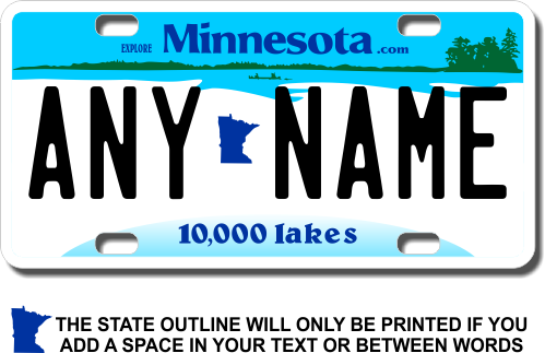 Minnesota License Plate for Bikes, Bicycles, ATVs, Cart, Walkers, Motorcycles, Wagons and Vehicles