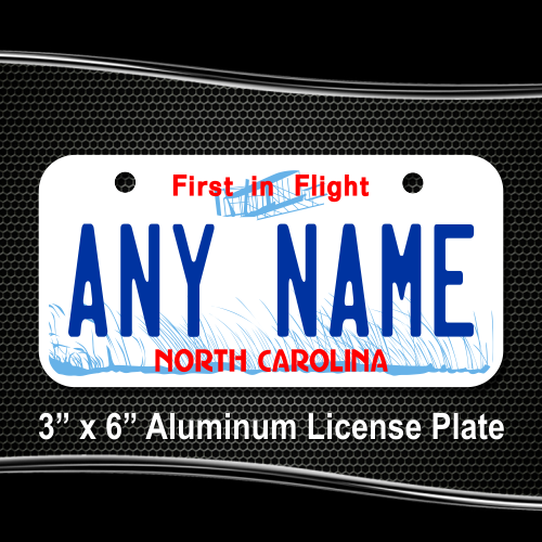 North Carolina License Plate for Bikes, Bicycles, ATVs, Cart, Walkers,  Motorcycles, Wagons and Vehicles