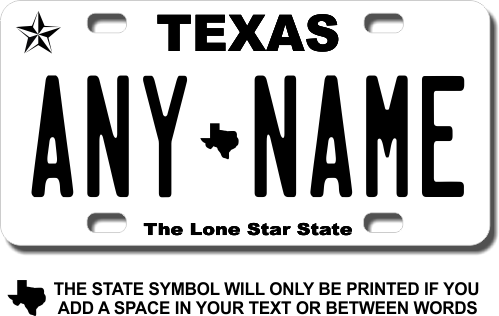 Texas Replica State License Plate for Bikes, Bicycles, ATVs, Cart, Walkers,  Motorcycles, Wagons and Vehicles Version 3