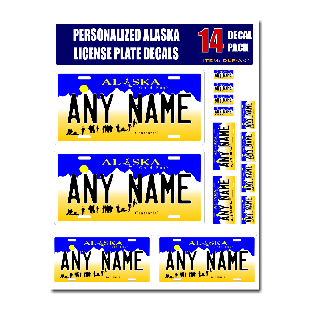 Personalized Alaska License Plate Decals - Stickers Version 1