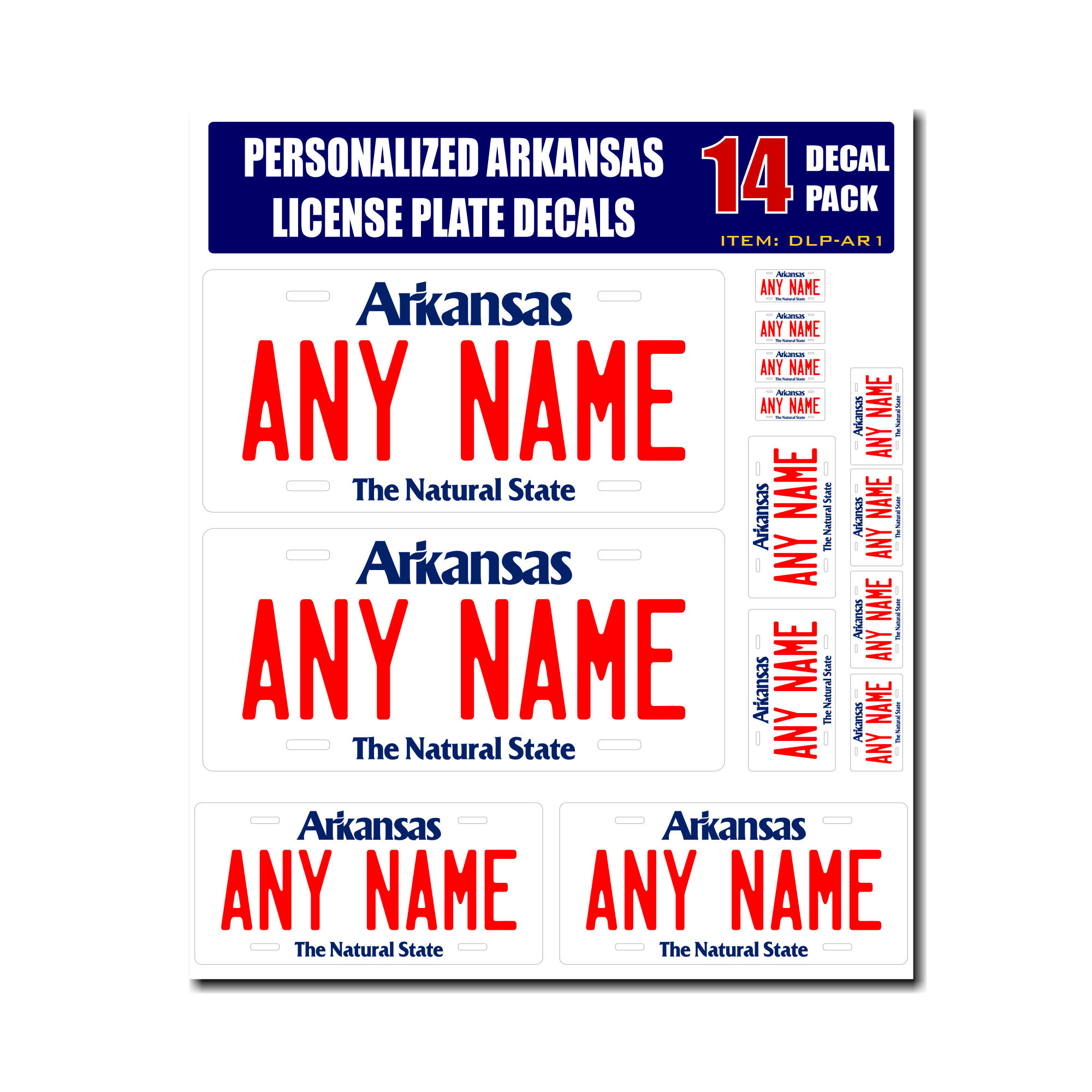 Personalized Arkansas License Plate Decals - Stickers Version 1