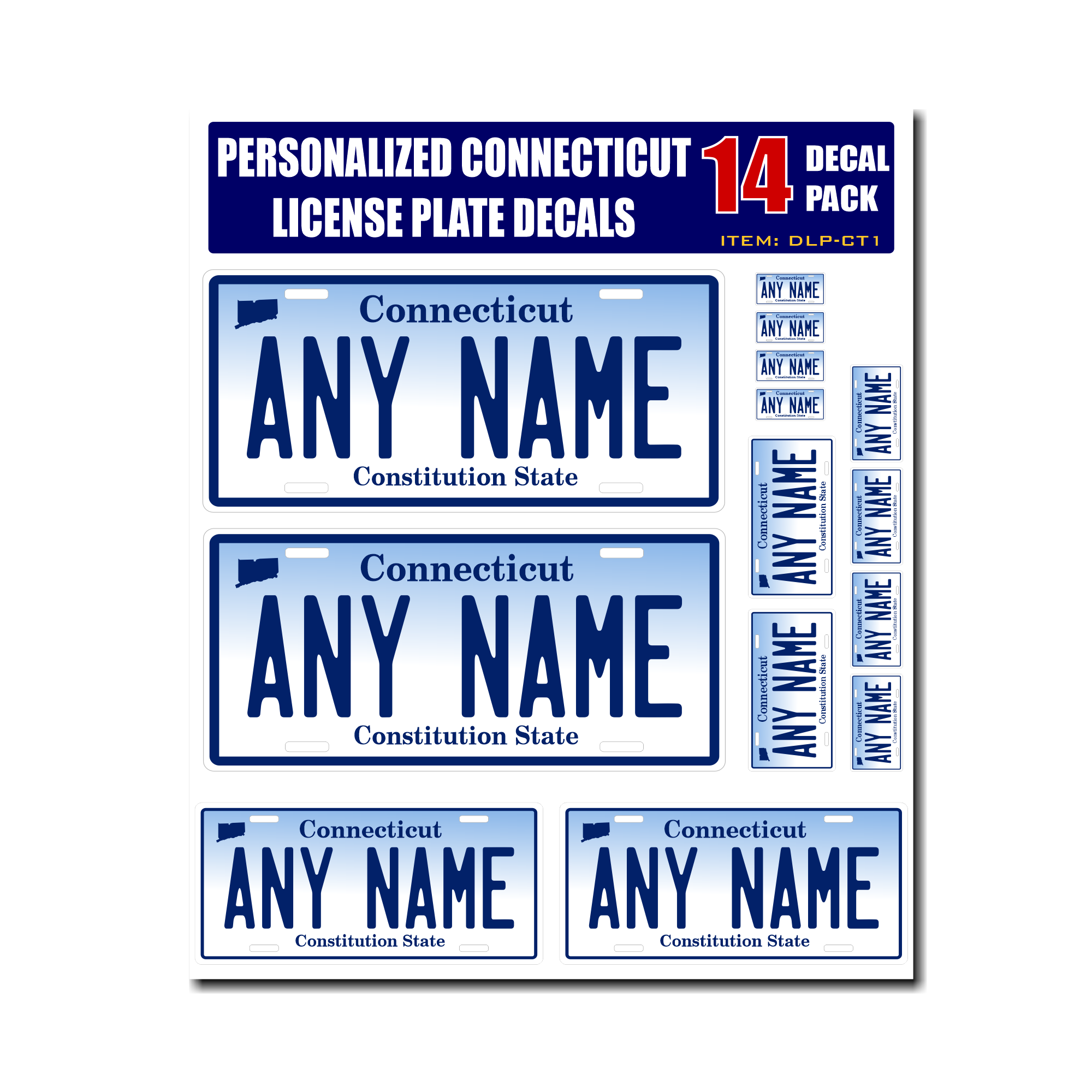 Personalized Connecticut License Plate Decals - Stickers Version 1