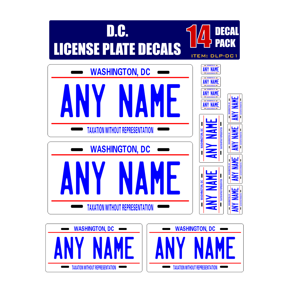 Personalized District of Columbia D.C. License Plate Decals - Stickers Version 1