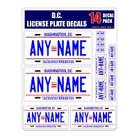 Personalized District of Columbia D.C. License Plate Decals - Stickers