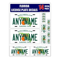 Personalized Florida License Plate Decals - Stickers Version 2