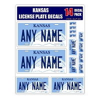Personalized Kansas License Plate Decals - Stickers