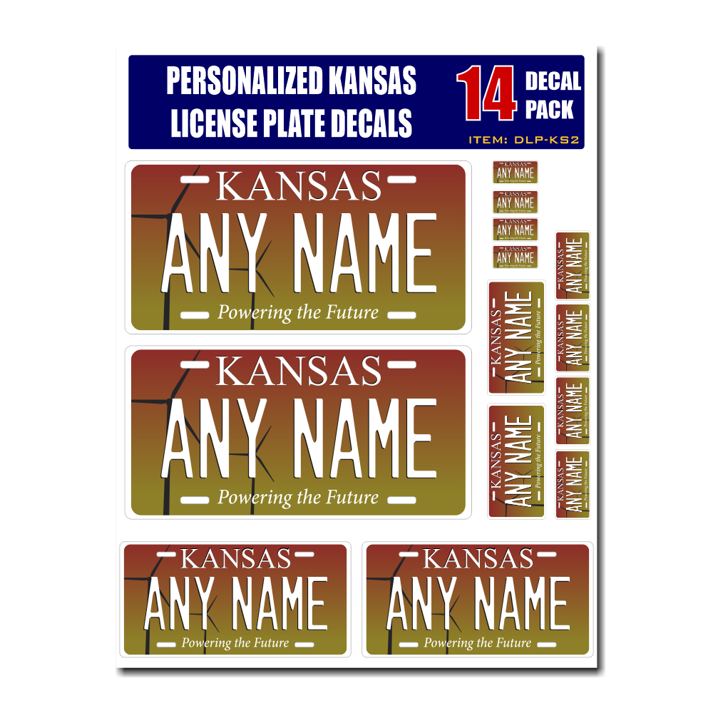 Personalized Kansas License Plate Decals - Stickers Version 2