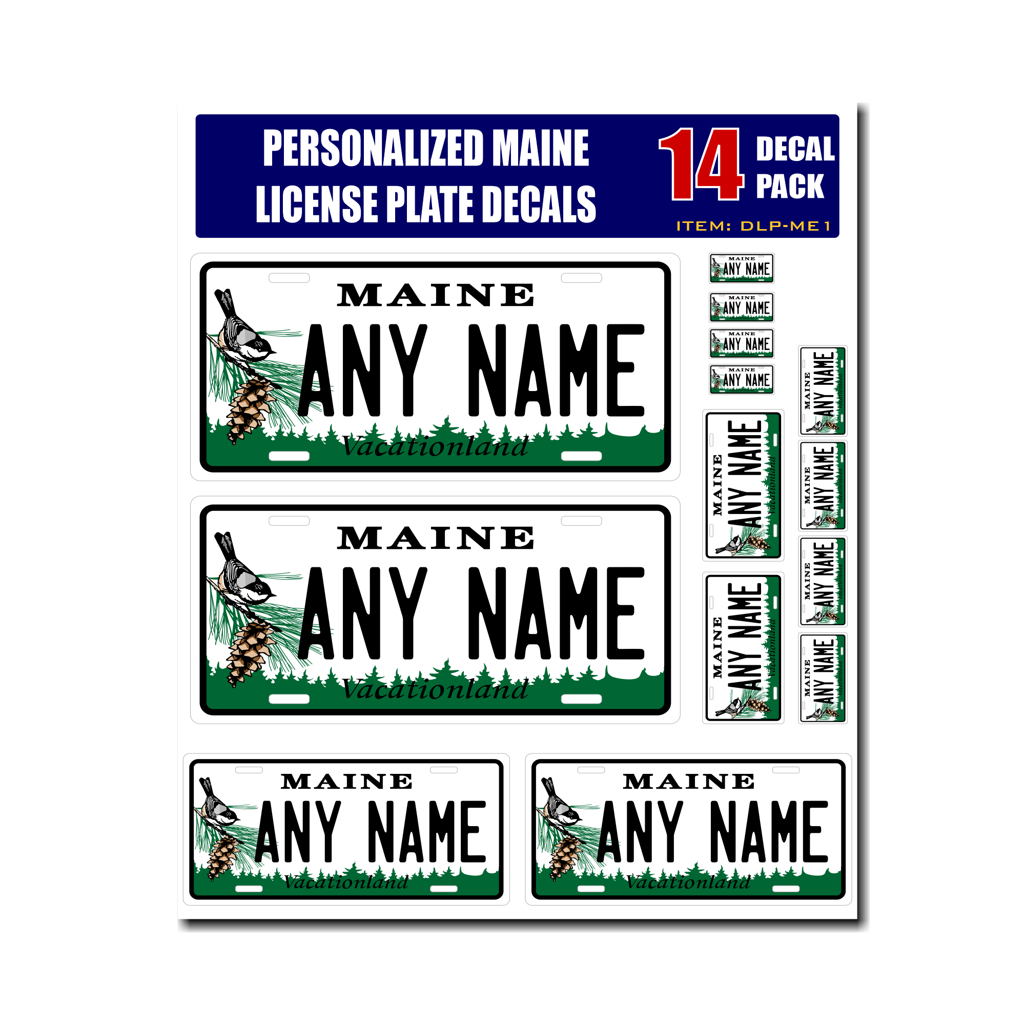 Home decal stickers personalized maine license plate decals stickers
