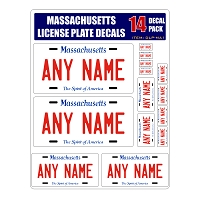 Personalized Massachusetts License Plate Decals - Stickers Version 1