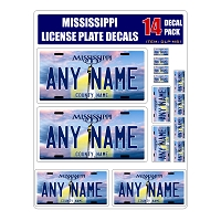Personalized Mississippi License Plate Decals - Stickers Version 1