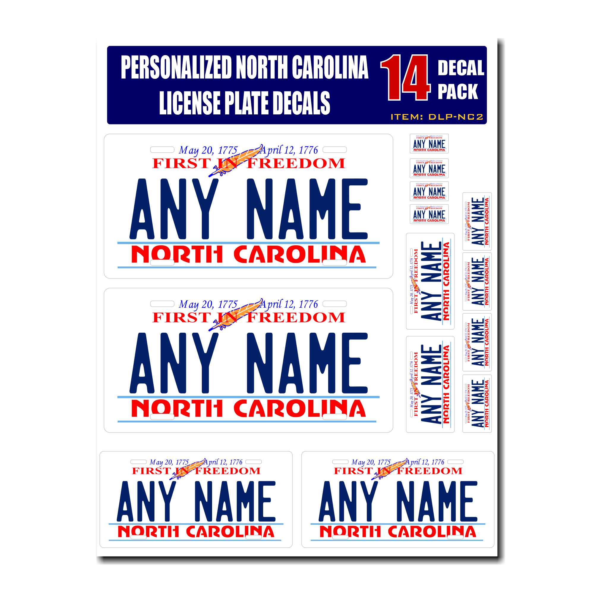 Personalized North Carolina License Plate Decals - Stickers Version 2
