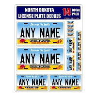 Personalized North Dakota License Plate Decals - Stickers