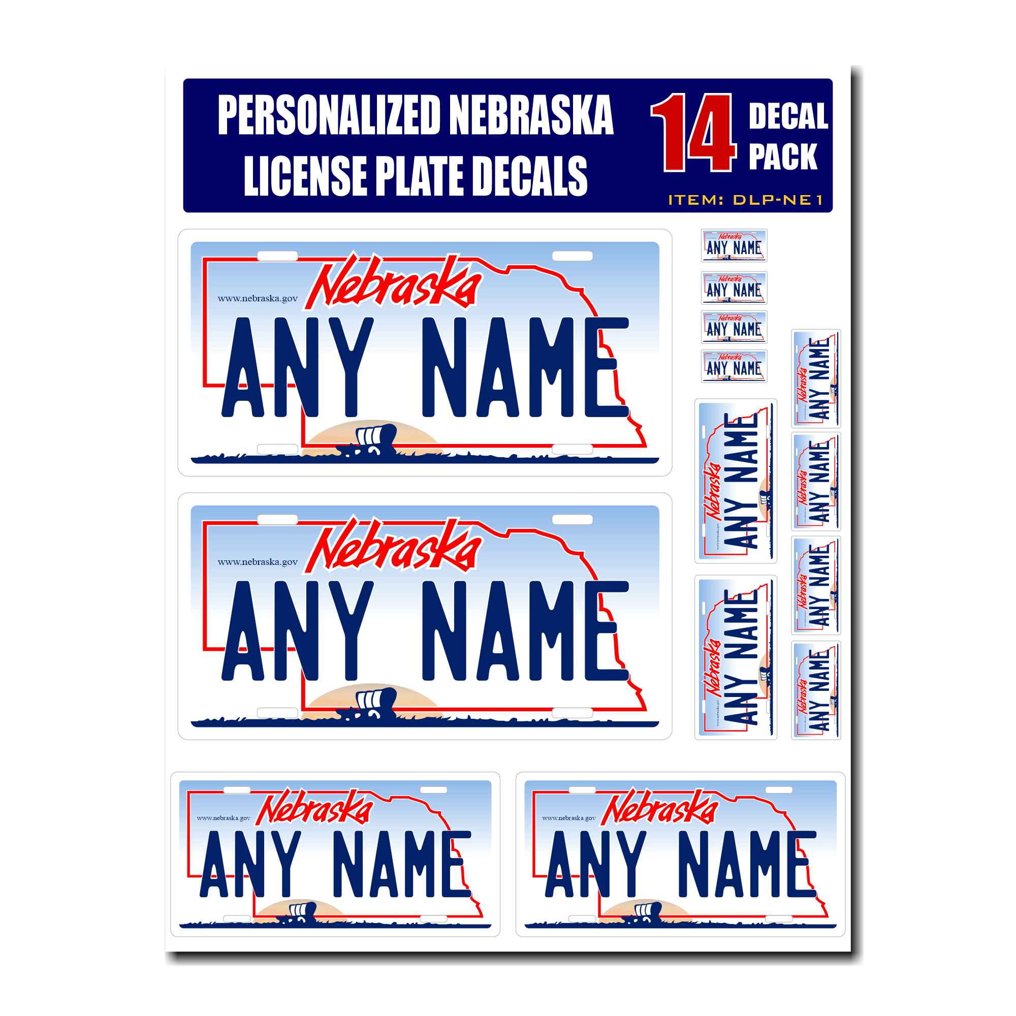 Personalized Nebraska License Plate Decals - Stickers Version 1