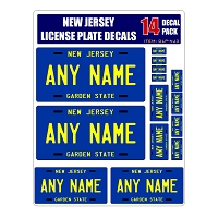 Personalized New Jersey License Plate Decals - Stickers Version 3