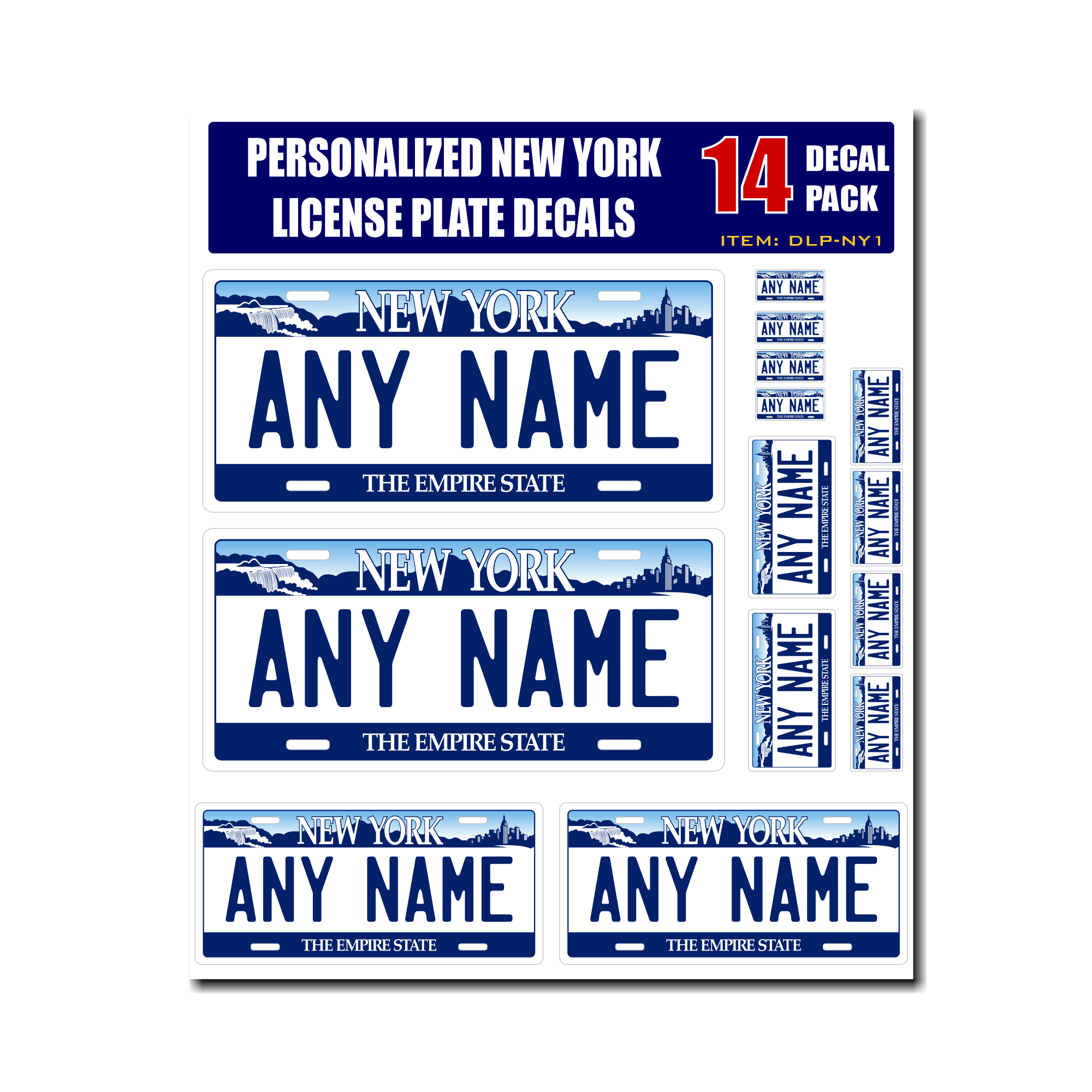 Home decal stickers personalized new york license plate decals stickers version 1