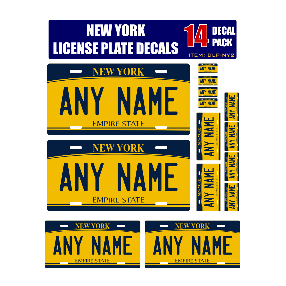 Personalized New York License Plate Decals - Stickers Version 2