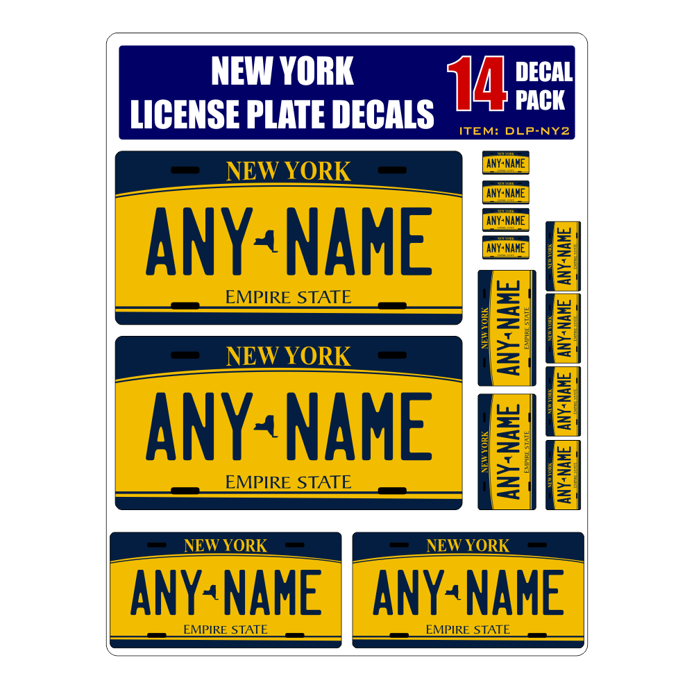Home decal stickers personalized new york license plate decals stickers version 2