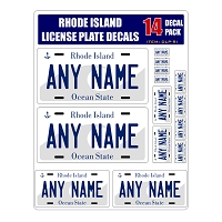 Personalized Rhode Island License Plate Decals - Stickers