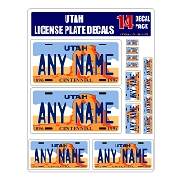 Personalized Utah License Plate Decals - Stickers Version 1