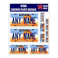 Personalized Utah License Plate Decals - Stickers Version 2