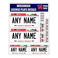 Personalized Wisconsin License Plate Decals - Stickers Version 2