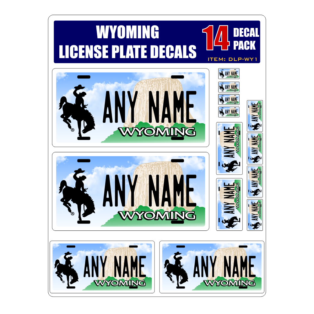 Personalized Wyoming License Plate Decals - Stickers