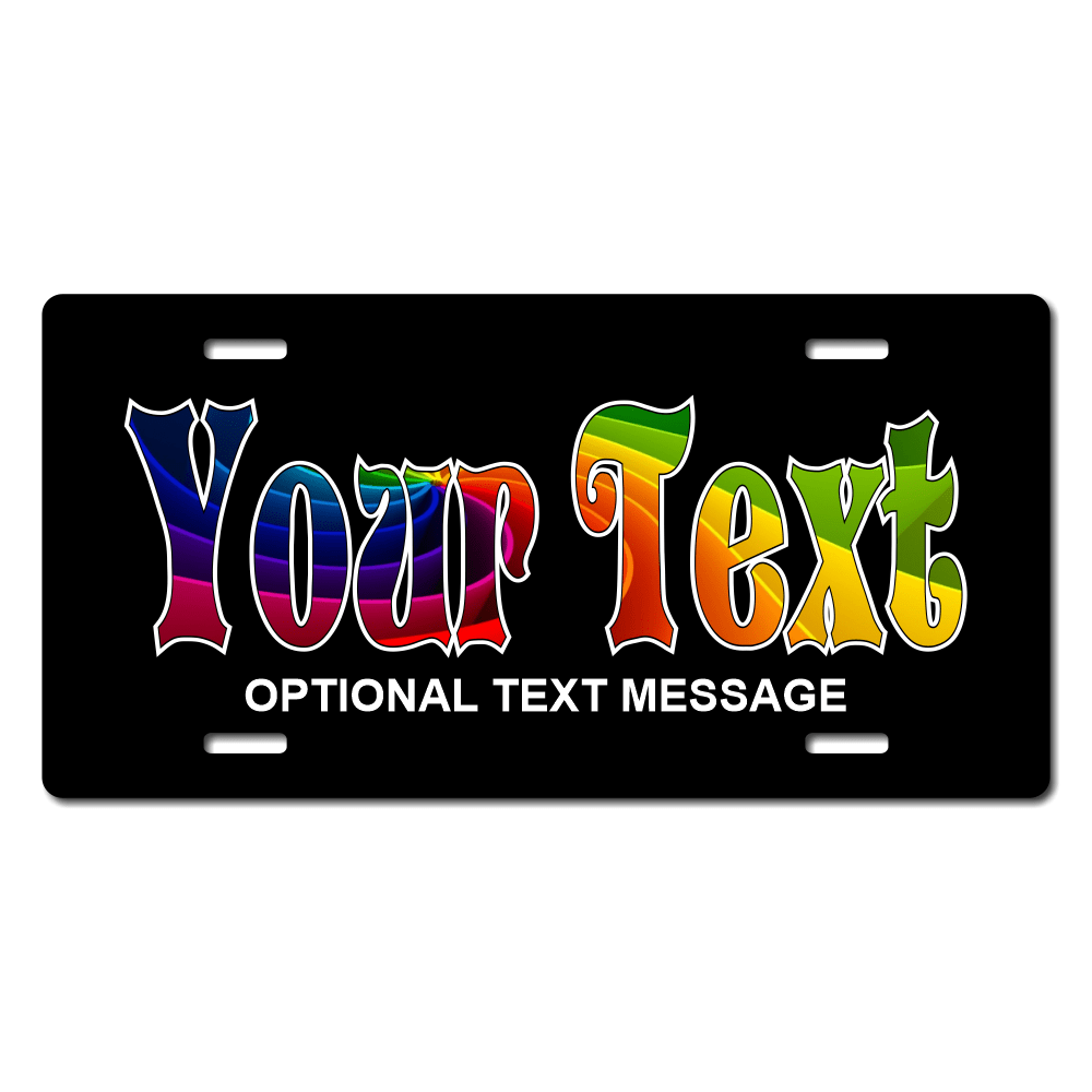 Rainbow Name With Black Background Plate for Bikes, Bicycles, ATVs, Cart, Walkers, Motorcycles, Wagons and Vehicles